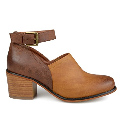 Brinley Co Womens Faux Leather Wood Stacked Heel Ankle Strap Clogs Brown