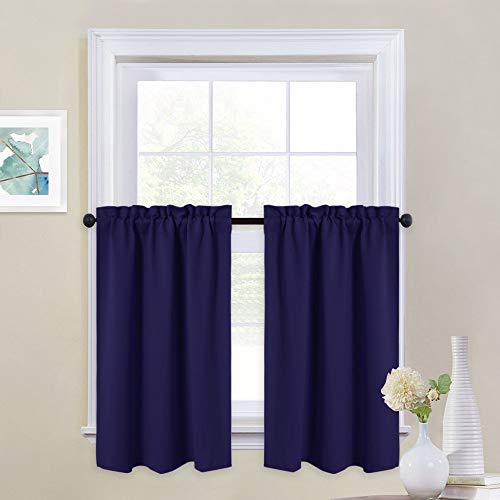 (NICETOWN Half Window Curtain Valances - Rod Pocket Tailored Tier/Cafe Drapes for Loft (2 Pieces, 29