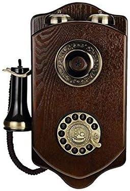 Teléfono inalámbrico Fijo de Madera montado en la Pared Vintage Giratorio Retro Hotel Creativo teléfono Fijo (Color: A): Amazon.es: Hogar