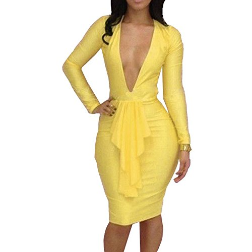Yellow Dress Sexy (Womens Deep V Low Cut Lotus Bodycon Dress Club Sexy Yellow)