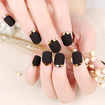 Amazon.com : Fake Nails False Nail Design Pretty Nail Designs Matte Black with Gold Fake Nails : Beauty