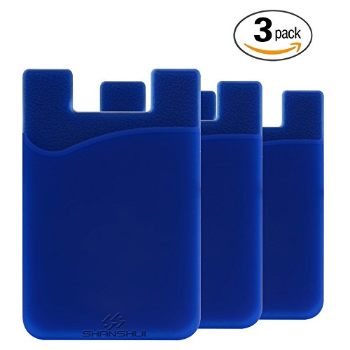 3 Pack Phone Card Holder, SHANSHUI Credit Card ID Card Holder for Android & Most Smartphones (Dark Blue / 3pcs) (I Phone 4s Cases With Card Holder)