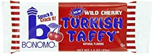 Bonomo Turkish Taffy Bar, Wild Cherry, 1.5 Ounce (Pack of 24)