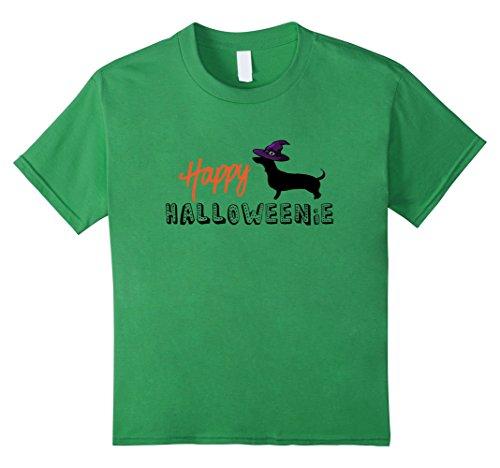 Weiner Halloween Costumes (Kids Happy Halloween Weenie Weiner Dog T-Shirt Witch Hat 6 Grass)