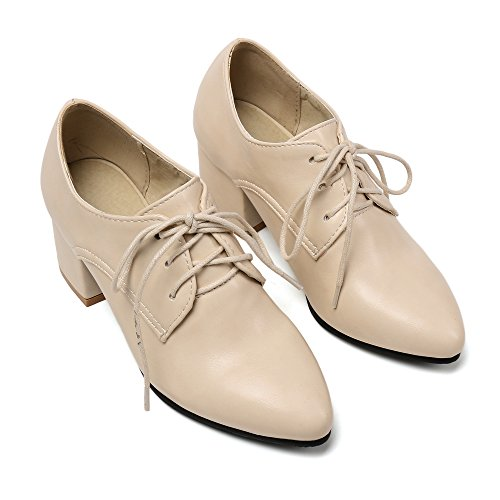 Shoes Heel Lace Shine Beige Casual Up Chunky Women's Show Oxfords qpHF7q