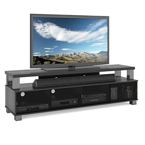 Pemberly Row 75 2 Tier TV Stand in Ravenwood Black