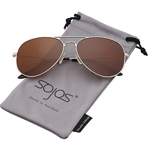 38c94d5a0b SojoS Classic Aviator Polarized Sunglasses UV400 Lens SJ1054 Gold Brown