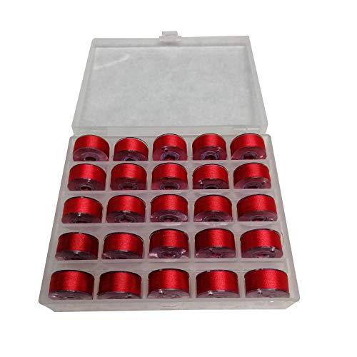 - 800 Red 25 Prewound Bobbin Embroidery Thread Size A with Bobbin Holder for FSL