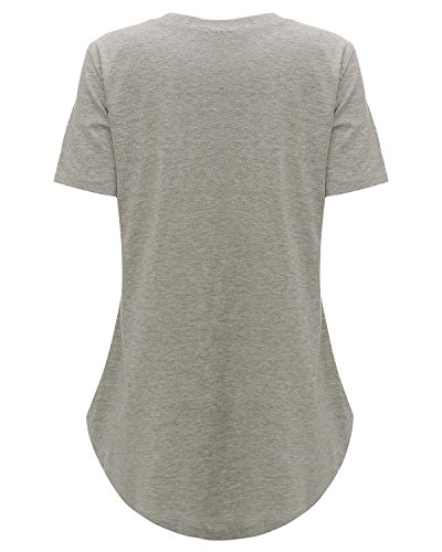 StyleDome Women V Neck Casual Blouse Shirts Short Sleeve Asymmetrical Hem Solid Plain Long Tee Tops Grey US 18 by StyleDome (Image #5)