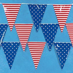 Round American Flag - 100' Foot Stars And Stripes Patriotic Pennant Banner