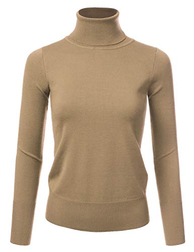 NINEXIS Women's Basic Long Sleeve Soft Turtle Neck Sweater Top Camel S (Turtle Nylon Sweater)