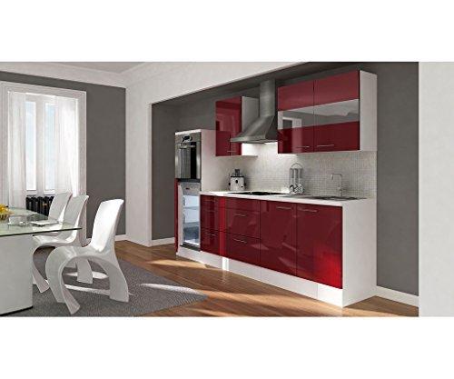 respekta Küchenleerblock 270 cm weiß Fronten Bordeaux Hochglanz