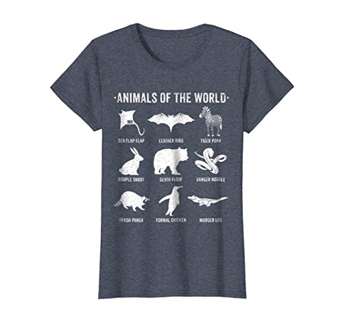 Womens Simple Vintage Humor Funny Rare Animals of the World T-shirt Medium Heather Blue (Animal T-shirt Snake)