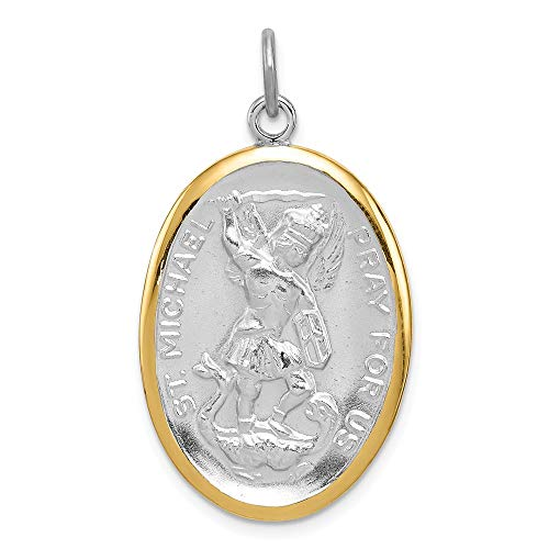 - 925 Sterling Silver Reversible Vermeil Saint Michael Medal Pendant Charm Necklace Religious Patron St Fine Jewelry Gifts For Women For Her