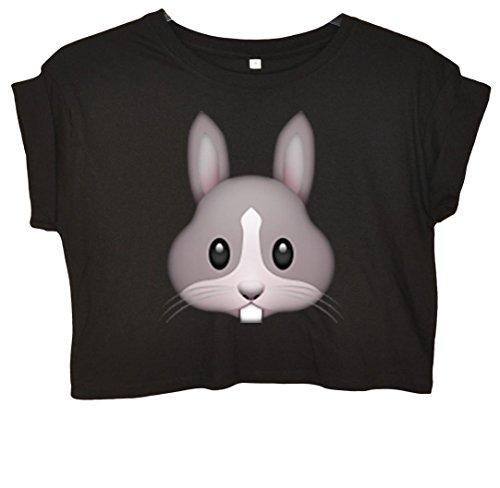 Rabbit Emoji Bauchfreies Crop Top Schwarz