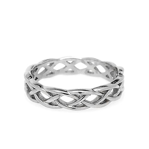 Womens Simple Stainless Steel Silver Endless Love Celtic Braid Band Ring (Size 7)