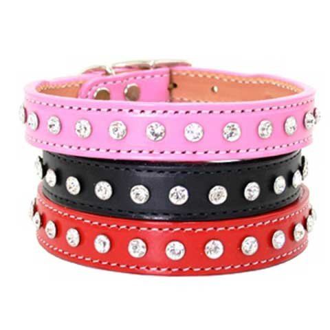 Madison & Maxwell Dog Collar- 3 colors available - Red 5/8in X 10in 1 row