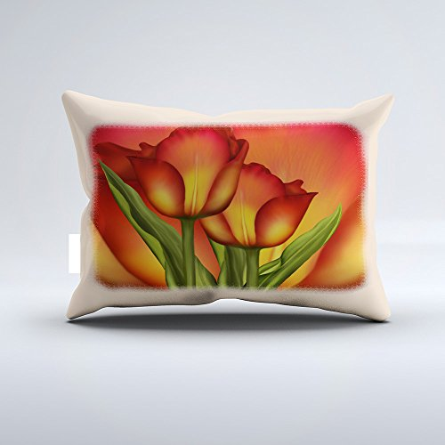Red and Gold Tulips Pillowcase Pillow Cushion Cover Cases Single Side 12x20