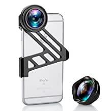 iPhone Lens, Fuleadture 175 Degree Wide Angle Lens and 3X HD Telephoto Clip-On Cell Phone Camera Lens Kit for iPhone 6 6s ( with Universal Clip for All Smartphones )