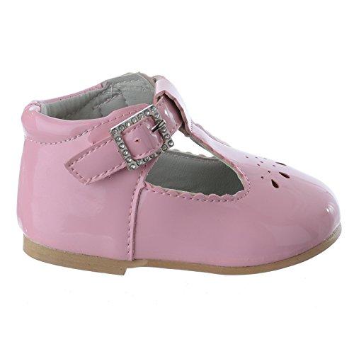 Miss Image UK Baby Mädchen Kleinkinder Kleinkinder Neu T-Riemen diamantenschnalle Lack Flach Kinderschuhe Größe pink Lack
