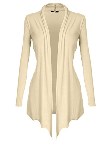 DRSKIN Women#039s Open  Front Long Sleeve Knit Cardigan Cardigan Beige L
