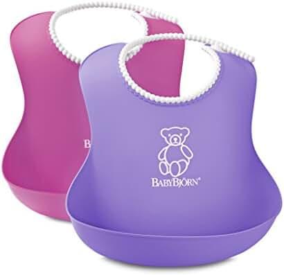 BABYBJORN Soft Bib, Pink/Purple, 2 Pack