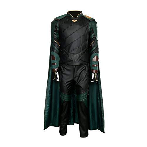 Partyever Men's Halloween Outfit Loki Cosplay Costume Suit with Cloak (Ragnarök Version) (X-Small) Dark Green]()