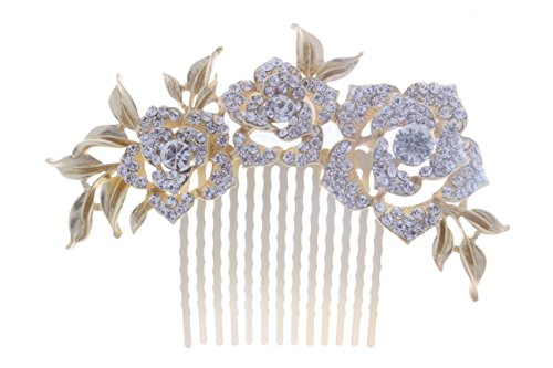 KimmyKu Bridal Hair Accessories Vintage Rose Gold Wedding Party Hair Comb Crystal Vine Bridal