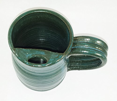 Aunt Chris' Pottery - Hand Made Clay - Right Handed Large Drinking Mug (Cup) With Mustache Guard - Blue Green (Turquoise) Glazed - Mug With Comfortable Loop Handle (Pottery Barn Teapot)