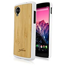 BoxWave True Bamboo Minimus Google Nexus 5 Case, Genuine Bamboo Wood Backing Shell Case Cover with Durable Plastic Edges with Smooth Matte Finish (Winter White)