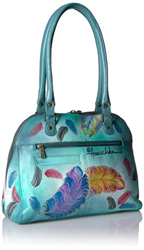 Anuschka Hand Painted Zip Around Organizer Satchel Floating Feathers, Fft-Floating Feathers by ANUSCHKA (Image #2)