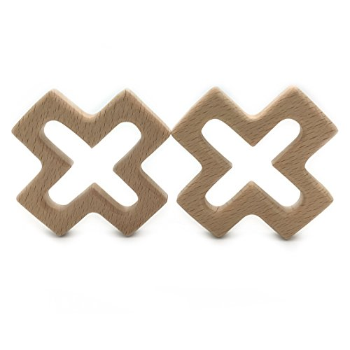Amyster 2pcs Handmade Wooden Organic Safe Baby Teether Cross Pendent Organic Natural Beech Wooden Toy Hand Cut Animal DIY Baby Teether Nursing Accessories