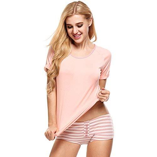 Redondo Corta Respirable Ropa Manga Fashion Cuello Slim Verano Pijama Conjunto Pink De Dormir Estilo Flecos Fit Mujer Cómodo Pijamas Especial Ocasional Sleepwear UawqYIW