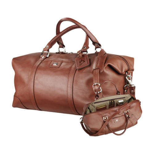 Hartford Cutter & Buck Brown Leather Weekender Duffel 'Official Logo Debossed' by CollegeFanGear