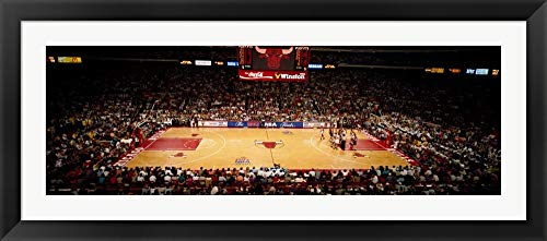 NBA Finals Bulls vs Suns, Chicago Stadium by Panoramic Images Framed Art Print Wall Picture, Black Flat Frame, 50 x 22 - Bulls Chicago Stadium