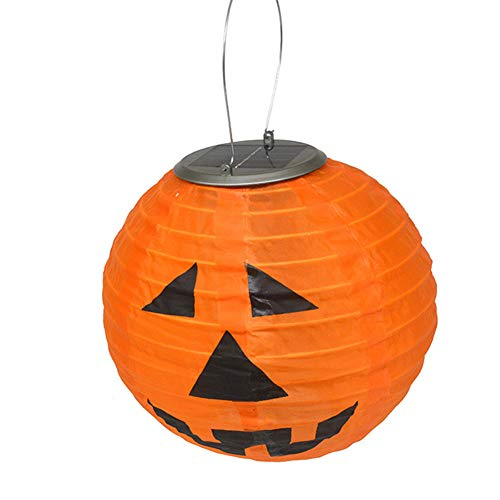 Meridian Pendant Outdoor (Alician Creative Unique Halloween Pumpkin LED Lantern Solar-Powered Waterproof Night Light Hanging Pendant Festival Decoration)