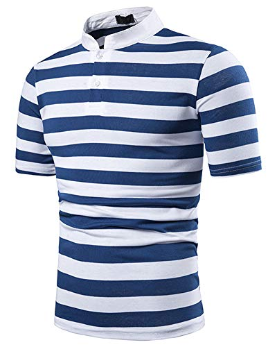 HaoDong Men's Fashion Summer Striped Top - Short Sleeve Polo Shirt Stand Collar Blouse Blue XL