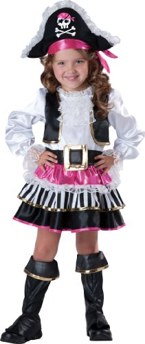 InCharacter Baby Girl's Pirate Girl Costume, Pink/White, 3T (Pirate Costume For Toddler Girl)