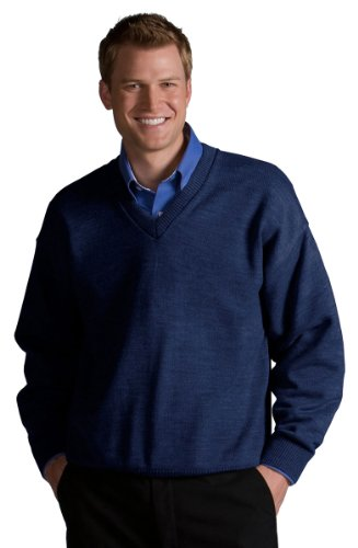 Jersey Stitch Pullover - Edwards Garment Stylish V-Neck Jersey Stitch Sweater, Navy, X-Large