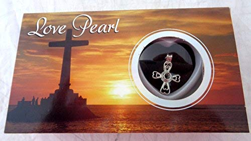 Cross Love Wish Pearl Kit Chain Necklace Kit Pendant Cultured Pearl in Kit Set With Stainless Steel Chain 16