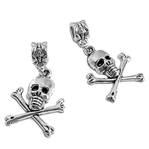 Sabai NYC Silvertone Pirate Skull Matching Friendship Slide Pendants - Crossbones Slide Charm