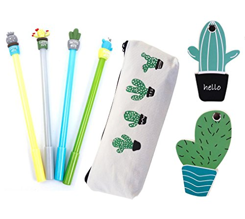 Adult Note - Cactus Office Supplies Includes 4 Cactus Gel Ink Black Pens 1 Cactus Pen Case 2 Cactus Sticky Notes for Adults & Students (Cactus set)