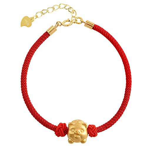 (Helen de Lete Red String Lucky Pig S925 Sterling Silver Bracelet (Golden Pig))