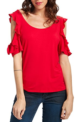 Shirt Stretch Ruffle (RAISEVERN Red Summer T Shirt Women Ruffle Short Sleeve Hollow Out Shoulder Trumpet Stretch Tunic Top Blouse Shirts L)