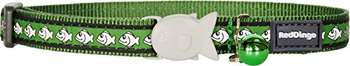 Red Dingo Reflective Cat Collar, One Size Fits All, Green