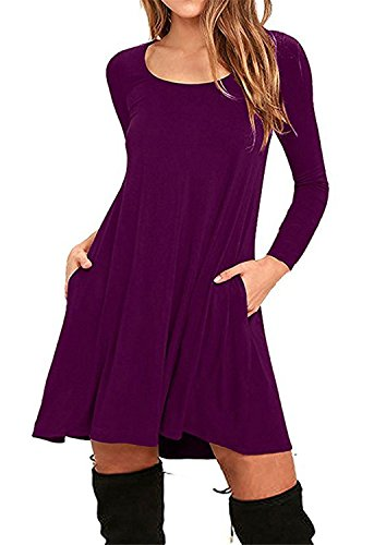JINGJQINGCAO Chic Womens Cotton Loose Casual Pockets Pleated Swing Long Sleeve T-shirt Dress PurpleXX-Large
