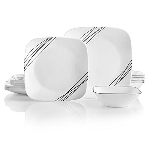 Corelle 18-Piece Service for 6, Chip Resistant, Simple Sketch Dinnerware Set, -