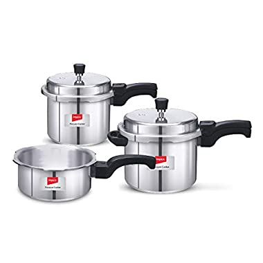 Impex IFC 235 Induction Base Aluminium Pressure Cooker Family Combo Set with Outer Lid (Silver, 2, 3 and 5 L) 8