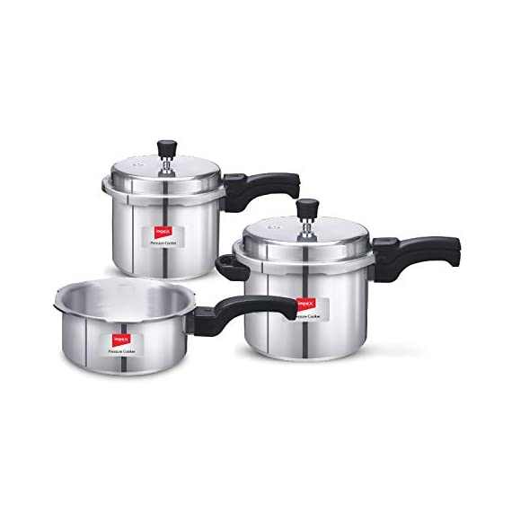 Impex IFC 235 Induction Base Aluminium Pressure Cooker Family Combo Set with Outer Lid (Silver, 2, 3 and 5 L) 1