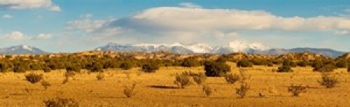 High desert plains landscape with snowcapped Sangre de Cristo Mountains in the background New Mexico USA Poster Print (18 x 6)